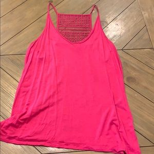 Bright pink tank with detailed back